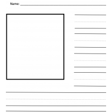 Writing paper with handwriting lines and picture boxes