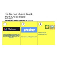 Math Choice board Tablero de Elecciones Matemáticas
