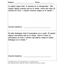 Edupronto - Spanish Word Problems 1st grade