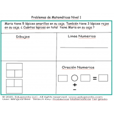 Problemas Matematicas 1er grado, Math Word Problems Spanish 1st grade, Math.1.3.B,Math.1.5.D,Math.2.7.C