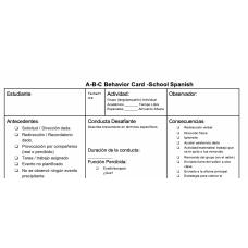 ABC Behavior Chart Intervention Editable in English and Spanish, Tarjeta de comportamiento diario.