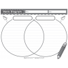 Venn diagram to compare and contrast with lines in Color, grays and black and white.
