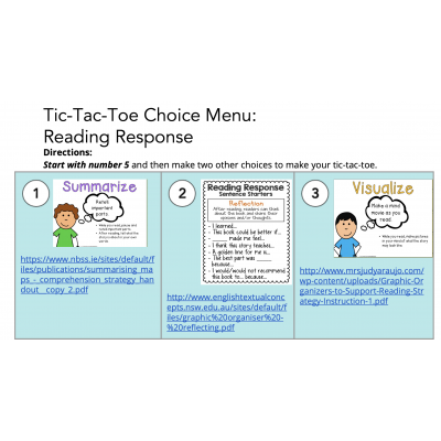 Remote Learning Reader's Response Choice Board with Graphic Organizers lInks