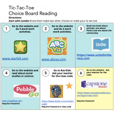 Tic Tac Toe Remote Learning Choice Board in English with Reading Response