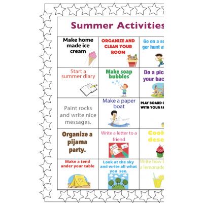 Summer Activities Choice board Bilingual
